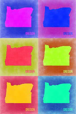 Oregon Pop Art Map 2 Print by Naxart Studio