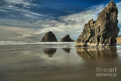 Oregon Sea Stack Reflections Print by Adam Jewell