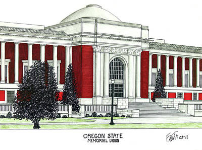 Pac-10 Universities Drawings Mixed Media - Oregon State by Frederic Kohli