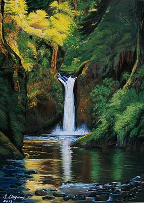 Waterscape Painting - Oregon's Punchbowl Waterfalls by Sharon Duguay