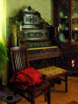 Chair Photograph - Organ In Parlor by Susan Savad