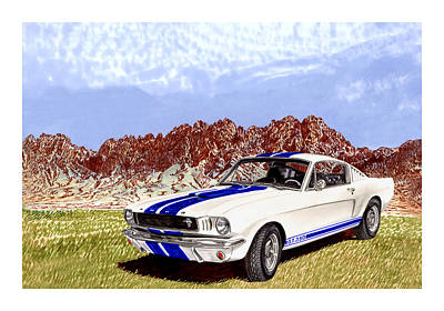 Ford Mustang Painting - Organ Mountains And 1965 Mustang by Jack Pumphrey
