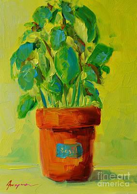 Interior Still Life Painting - Organic Basil Plant Still Life by Patricia Awapara
