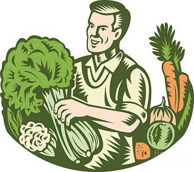 Cauliflower Digital Art - Organic Farmer Green Grocer With Vegetables Retro by Aloysius Patrimonio