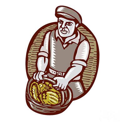Organic Farmer Harvest Basket Woodcut Linocut Print by Aloysius Patrimonio
