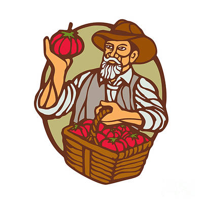 Organic Farmer Tomato Basket Woodcut Linocut Print by Aloysius Patrimonio