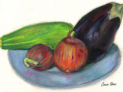 Etc Drawing - Organic Veggies by Connie Thomas