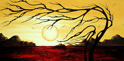 Tree Painting - Orginal Ocean Art Abstract Landscape Seascape Painting Golden Harmony By Madart by Megan Duncanson