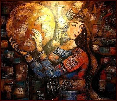 Dancer Relief Painting - Oriental Dancer With Doyra by Vitaliy Shcherbak