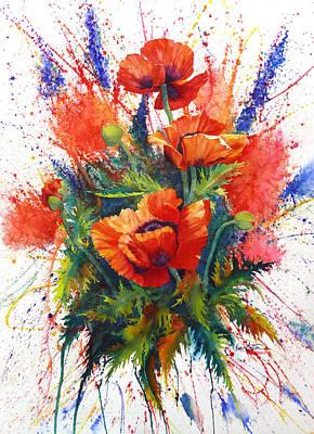 Painted Ladies Painting - Oriental Poppy Chaos by Karen Mattson