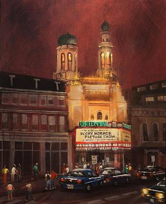 City At Night Painting - Oriental Theater Milwaukee by Tom Shropshire