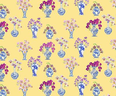 Oriental Vases With Orchids Print by Kimberly McSparran