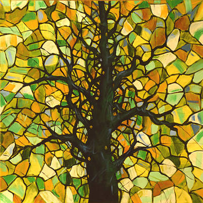 Abstract Painting - Original Abstract Tree Landscape Painting ... Stained Glass Tree #3 by Amy Giacomelli