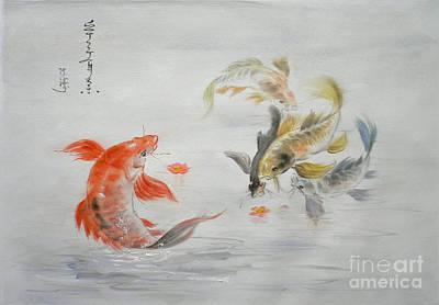 Goldfish Drawing - Original Animal  Oil Painting Art- Goldfish by Hongtao     Huang