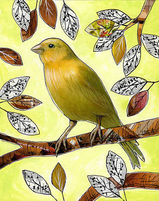 Canary Mixed Media - Original Bird Art Print Painting ... Songs Of Canaries by Amy Giacomelli