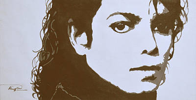 Michael Jackson Art Drawing - original black an white acrylic paint art- portrait of Michael Jackson#16-2-4-12 by Hongtao     Huang