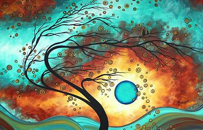 Original Bold Colorful Abstract Landscape Painting Family Joy II By Madart Print by Megan Duncanson
