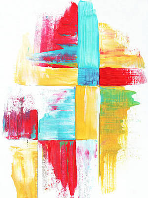 Original Bold Colorful Abstract Painting Patchwork By Madart Print by Megan Duncanson