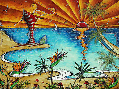 Original Coastal Surfing Whimsical Fun Painting Tropical Serenity By Madart Print by Megan Duncanson