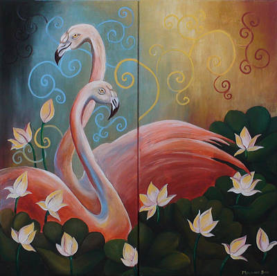 Calm Painting - Original Colorful Bold And Vibrant Couple Flamingo Birds Acrylic Painting For Home Decor by Mounika Narreddy