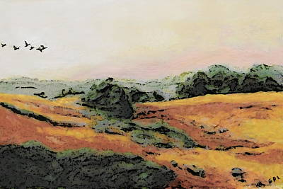 Maryland Painting - Original Fine Art Painting Landscape Maryland Fields Detail by G Linsenmayer