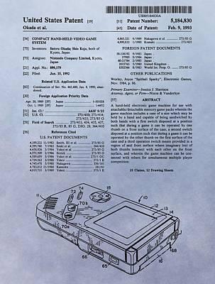 Original Gameboy Patent Print by Dan Sproul