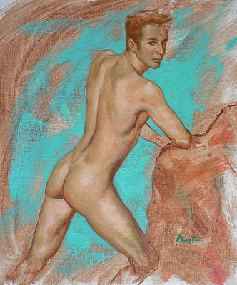 Original Impression Man Body Oil Painting Male Nude On Canvas#16-2-6-05 Original by Hongtao     Huang