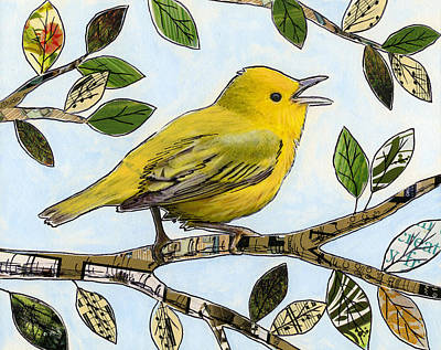 Canary Mixed Media - Original Music Bird Art Print Painting ... The Finch's Song by Amy Giacomelli