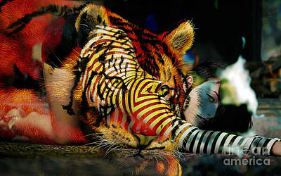 Original Olivia Wild And The Tiger Painting Print by Marvin Blaine