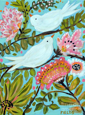 Pottery Barn Style Painting - Original Painting Bird Series C by Karen Fields