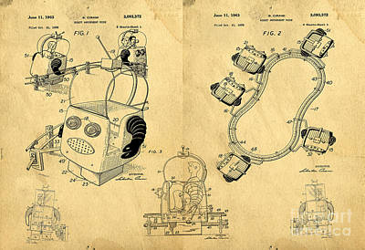 Astronauts Drawing - Original Patent For Robot Amusement Park Ride by Edward Fielding