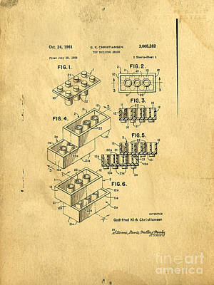 Lego Drawing - Original Us Patent For Lego by Edward Fielding