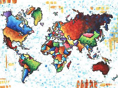 Original Vibrant Colorful World Map Pop Art Style Painting By Megan Duncanson Original by Megan Duncanson