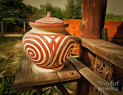 Terracotta Room Painting - Original Watercolor Painting Of Clay Pot Decor by Chaiwad Baimai