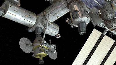 Spacecraft Photograph - Orion Docked To The Iss by Nasa