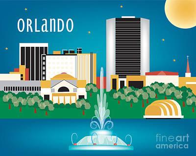 Framed Art Digital Art - Orlando Florida Skyline by Karen Young