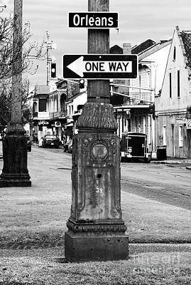 Black And White Photograph - Orleans One Way by John Rizzuto
