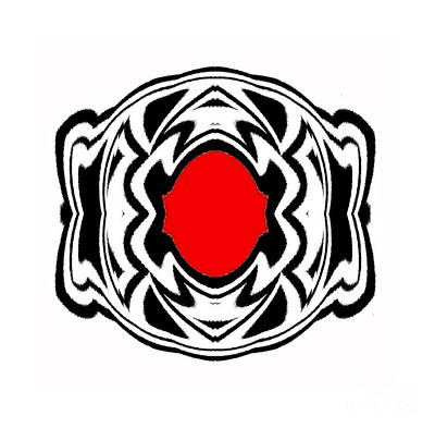 Concentration Digital Art - Ornament Black White Red Geometric Art No.119. by Drinka Mercep