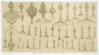 Ornamental Knobs Shaped As Domes Print by Jean Francois Albanis de Beaumont