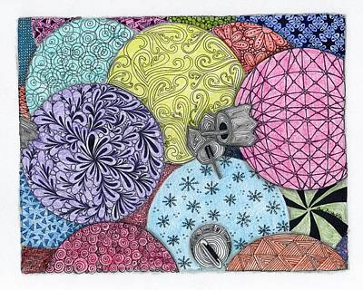 Paisley Drawing - Ornaments Galore In Color by Paula Dickerhoff