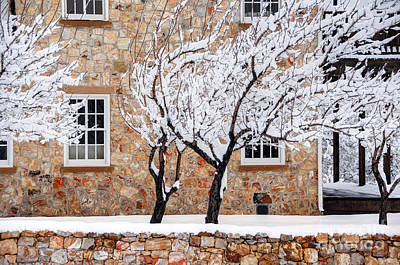 Ornate Historic Stone House In Winter Print by Gary Whitton