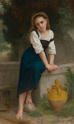 William-adolphe Bouguereau Painting - Orphan By The Fountain by William-Adolphe Bouguereau