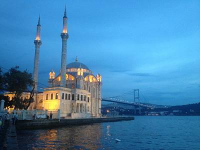 Istanbul Photograph - Ortakoy Mosque At Dusk by Rebecca Davis
