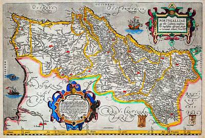 Portugal Art Painting - Ortelius Map Of Portugal Porvgalliae Geographicus Portugalliae Ortelius 1587 by MotionAge Designs