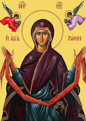 Orthodox Icon Of Mary Print by Munir Alawi