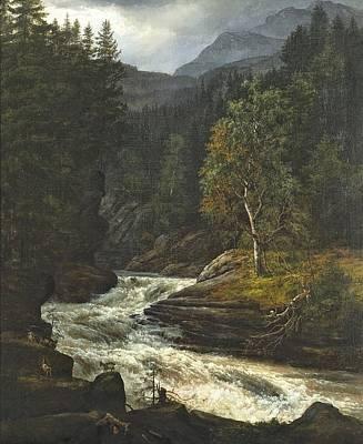 Norwegian Waterfall Painting - Orwegian Waterfall In Hemsedal  by Celestial Images