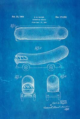 Oscar Mayer Wienermobile Patent Art 1954 Blueprint Print by Ian Monk