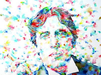 Oscar Wilde With Cigar - Watercolor Portrait Print by Fabrizio Cassetta