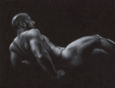 Male Nude Drawing Drawing - Oscuro 5 by Chris  Lopez