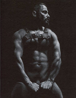 Male Nude Drawing Drawing - Oscuro 9 by Chris  Lopez